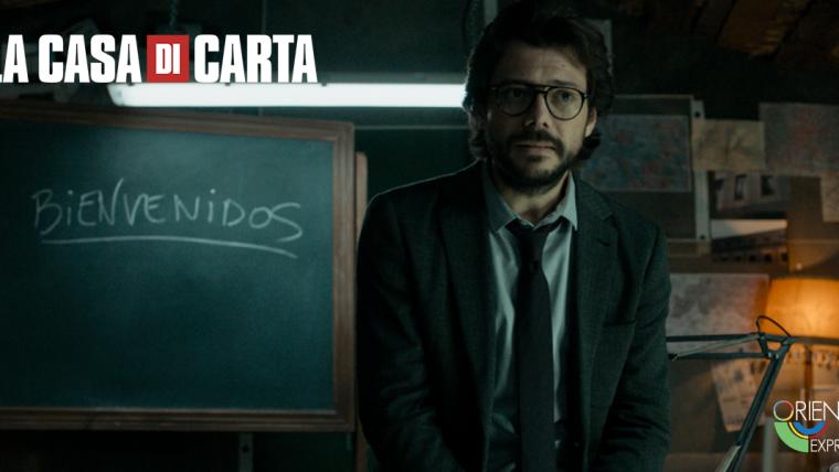 """Sergio Marquina (""""il professore""""): il leader che orchestra una rapina quasi come fosse una sinfonia di Mozart."""